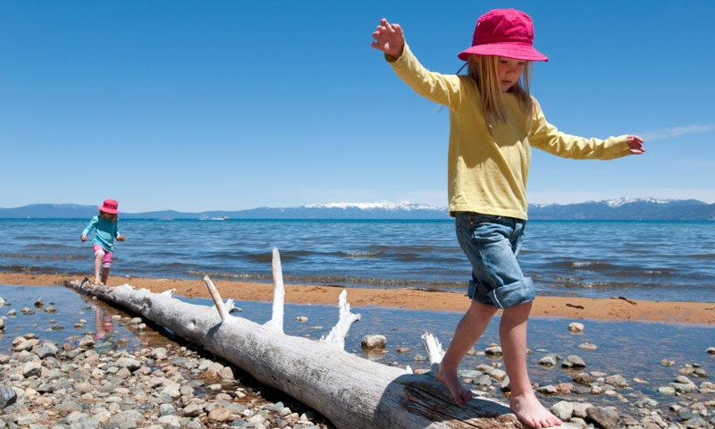 Kids Playing along Lake Tahoe Beaches