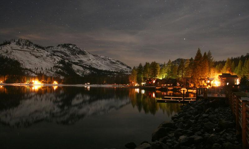 Donner Lake Piers on a Winter Evening