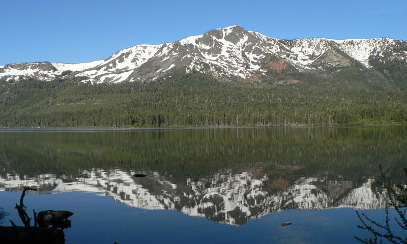 Fallen Leaf Lake reflects an image of Mount Tallac