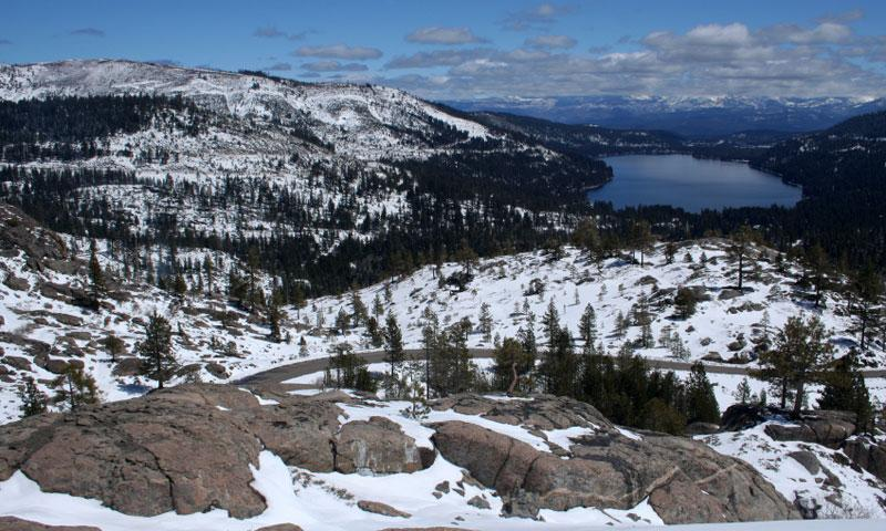 Looking down to Donner Lake from Donner Pass California