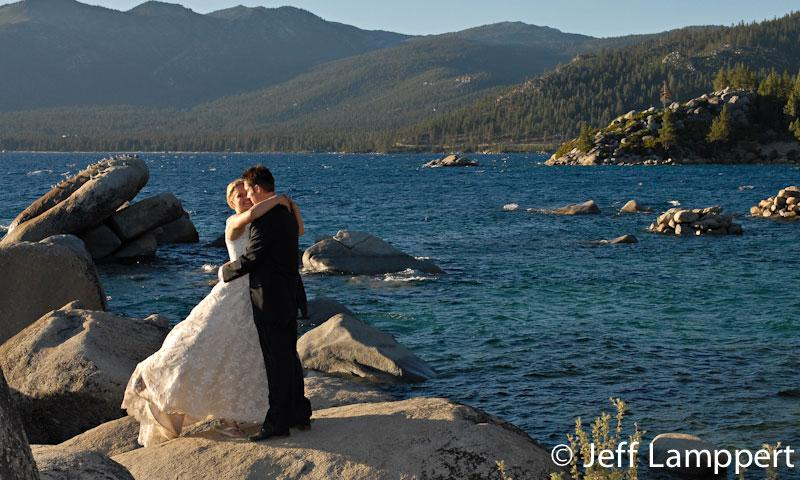 Bride and Groom along Lake Tahoe Shore