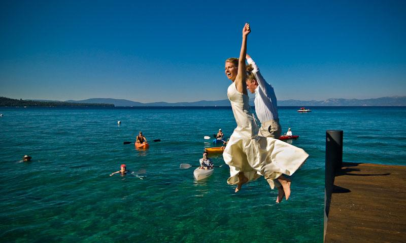 Bride and Groom jump from dock into Lake Tahoe