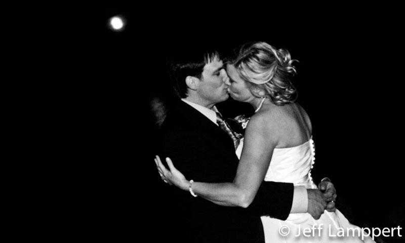 A kiss under moonlight at a Lake Tahoe Wedding