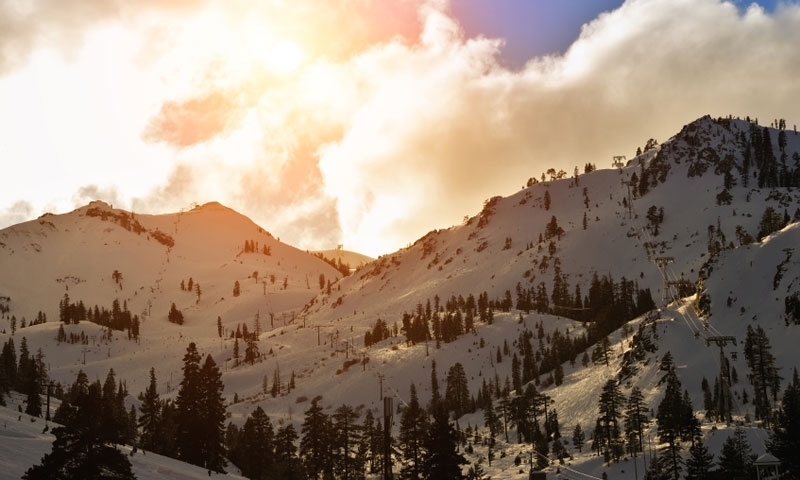 Sunset over Squaw Valley Ski Resort near Lake Tahoe