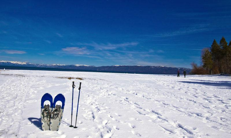A pair of snowshoes waiting to be used at Lake Tahoe