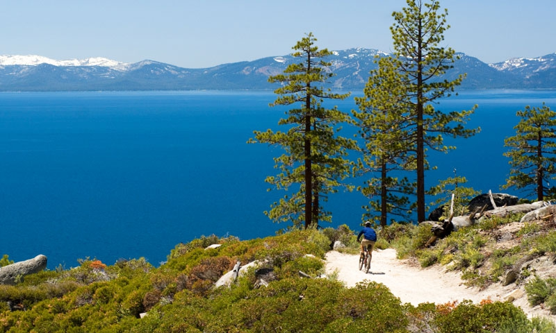 Mountain Biking along the shores of Lake Tahoe